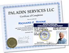 South Carolina CWP (Concealed Weapons Permit) and Paladin Services' CWP training certificate.